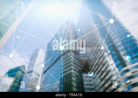Blockchain sur réseau gratte-ciel fond flou. La technologie financière et communication concept.