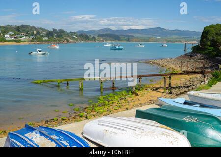 Île du Sud Nouvelle-zélande village de pêcheurs de Moeraki, bateaux et cales