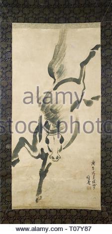 Cheval au Galop: 'Scroll'. Japon, 1930. Dimensions: 119,3x58,1 cm. Musée: Etat de l'Ermitage, Saint-Pétersbourg. Auteur: Ooyama Gado. Banque D'Images