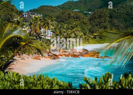 La vue étonnante de la célèbre plage de Anse Intendance, Mahe, Seychelles Banque D'Images