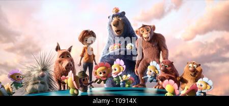 WONDER Park, à partir de la gauche: Steve (voix: John Oliver), le Greta (voix: Mila Kunis), juin (voix: Brianna Denski), Boomer (voix: Ken Hudson Campbell), d'Arachide (voix: Norbert Leo Butz), Cooper (voix: Ken Jeong), Gus (voix: Kenan Thompson), entouré par Chimpanzombies, 2019. © Paramount / courtesy Everett Collection