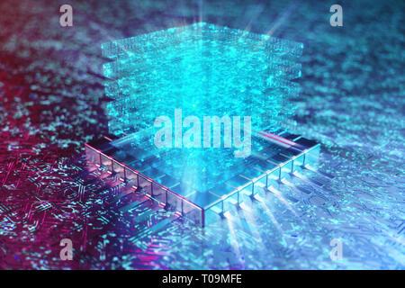 AI - intelligence artificielle concept. Au-dessus d'hologramme CPU. L'apprentissage automatique. Les processeurs de l'ordinateur central de la carte de circuits imprimés avec les voies. Enc