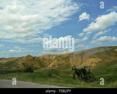 Belles couleurs de paysage et de formations rocheuses à Badlands National Park (Dakota du Sud, USA. Banque D'Images