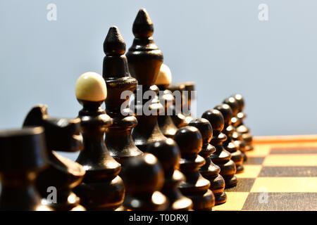 Échecs échiquier de pièces noires, reine du foyer, roi et reine, évêque, Knight, Tour, tour