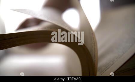 Femme de feuilleter un livre, close-up pages Banque D'Images