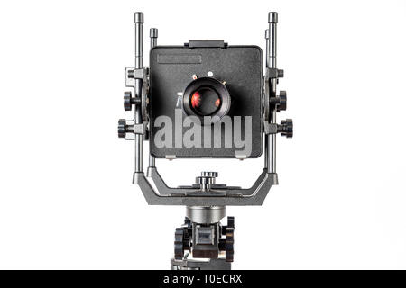 D'un coup horizontal de la caméra de vision professionnelle isolé sur blanc avec copie Espace. Banque D'Images