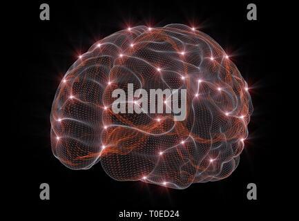 Le rendu 3D d'une image conceptuelle représentant les réseaux de neurones en intelligence artificielle Banque D'Images