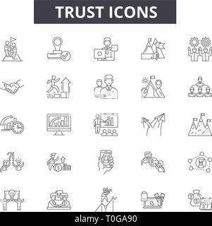 Icônes de ligne de confiance pour le web et les terminaux mobiles. Signes d'avc modifiable. Résumé du concept de fiducie illustrations Banque D'Images