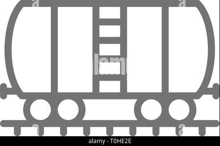 Réservoir d'huile sur les rails, l'icône de la ligne du wagon de fret. Banque D'Images