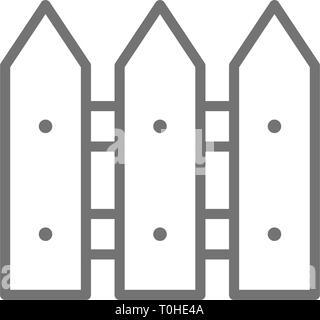 Clôture en bois, mur, l'icône de la ligne de barrière. Banque D'Images