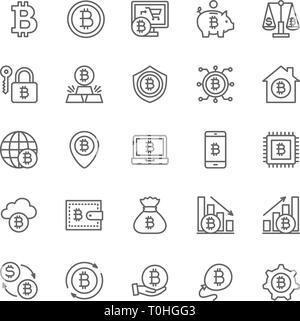 Jeu de ligne Cryptocurrency Bitcoin et icônes. Pack d'Icônes 48x48 Pixel Banque D'Images