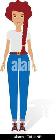 90bc2c4592 ... Jeune femme portant des tenues à la mode. Personnages féminins vêtus de  vêtements à la