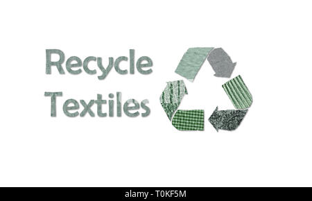 Symbole de recyclage recycler les textiles avec l'aide de texte matériel réutilisé à partir de vieux vêtements, concept illustration réutiliser, recycler les vêtements et les textiles Banque D'Images