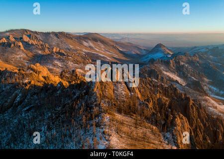Coucher du soleil en Suisse, mongole, Parc National de Gorkhi-Terelj en Mongolie