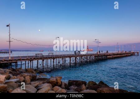 L'embarcadère de Enaerios Salon au coucher du soleil,Chypre Banque D'Images