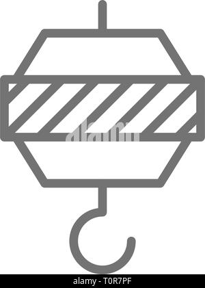 Crochet de grue industrielle, l'icône de la ligne, de l'équipement technique. Banque D'Images
