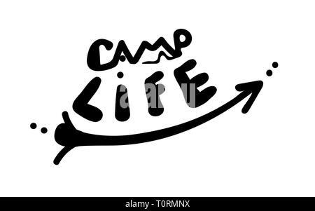 La vie du camp. Mot avec tente et flèche dans un style simple à la main. Inscription du vecteur. Cute inscription sur un fond blanc. tourisme devis pour sti voiture