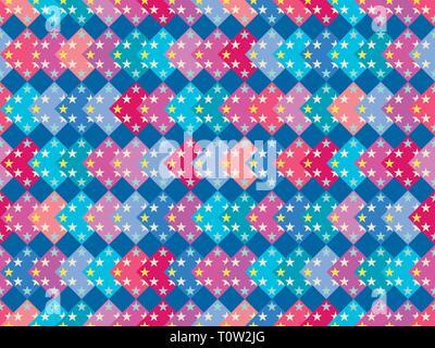 Modèle transparent avec des carrés multicolores et des étoiles. Arrière-plan coloré. Vector illustration Banque D'Images