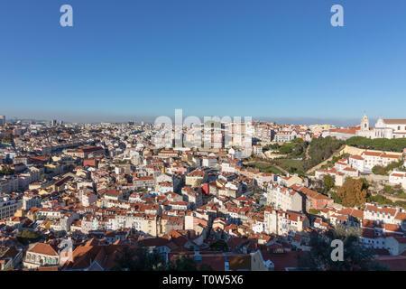 Panorama de Lisbonne prises à partir de la Saint George's Castle Banque D'Images