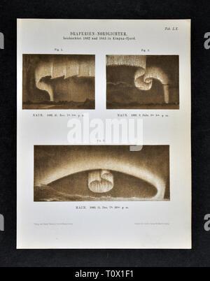 1894 Muller Astronomie Print de l'Arctique ou Northern Lights les aurores boréales montrant les rideaux de lumière Banque D'Images
