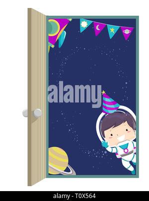 Illustration d'un enfant garçon à partir de l'astronaute de l'autre côté de la porte portant chapeau d'anniversaire Banque D'Images