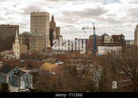Skyscraper view du Providence College Hill, (côté est). Plus anciens et les plus riches, l'article du centre-ville de Providence. Brown University, Rhode Island School Banque D'Images