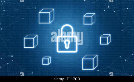Blockchain concept de sécurité. Entouré d'un cadenas avec blocs vides. Thread réseau à côté. Code binaire en arrière-plan. Banque D'Images