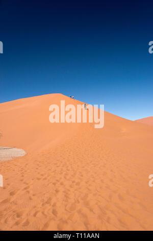 Deux garçons et leur père se mettent à grimper la Dune de sable rouge 45, populaire pour l'escalade par les touristes à Sossusvlei, l'intérieur de la parc de Namib Naukluft Namib dans Banque D'Images