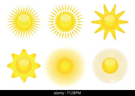 Ensemble d'icônes soleil des vacances soleil illustration vecteur EPS10 Banque D'Images