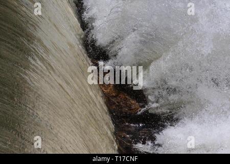 Libre de l'eau d'une cascade éclaboussant violemment rocks off dans une rivière nord de la Géorgie. Banque D'Images