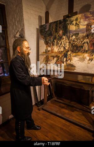 Jan Matejko (1838-1893) grand peintre polonais historique cire figure au musée au monticule Kosciuszko à Cracovie, Pologne, Europe Banque D'Images