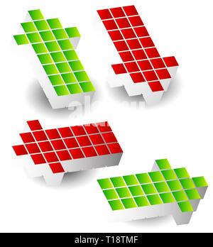 Ensemble de 4 flèche vers la gauche, droite, haut, bas. Flèches en 3D fait de cubes, blocs. Banque D'Images