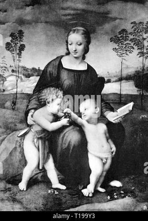 """La religion, le christianisme, Madonna / Marie avec enfant, 'Madonna del cardellino"""" (Madonna avec le chardonneret), peinture, par Raffael (1483 - 1520), 1505 / 1506, huile sur panneau, 107 x 77 cm, Galerie des Offices, Florence, auteur de l'artiste n'a pas à être effacée Banque D'Images"""