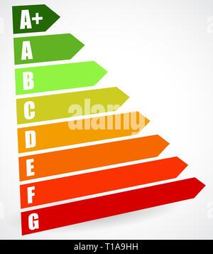 Classe énergie certificat, certificat de performance énergétique. L'efficacité énergétique, la consommation d'énergie pour les maisons de notation, des maisons, des bâtiments Banque D'Images