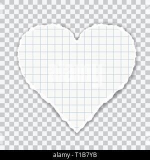 Illustration réaliste de papier quadrillé en forme de coeur. Isolé sur fond transparent - vector Banque D'Images