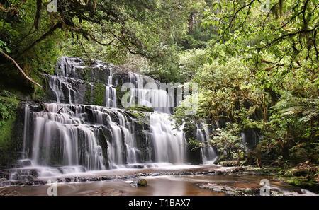 Vue panoramique de l'Purakaunui Falls (parc forestier de Catlins Nouvelle-zélande)
