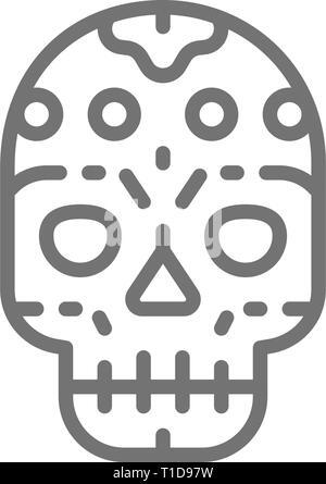 Crâne mexicain santa muerte, masque, jour de l'icône de la ligne morte. Banque D'Images