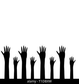 Les mains noires sur un fond blanc