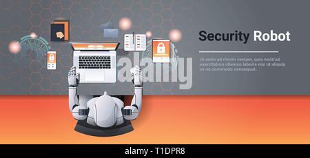 Appareils numériques à l'aide d'humanoïde réseau sécurité informatique protection des données confidentialité concept robot à l'intelligence artificielle en milieu de bureau angle haut