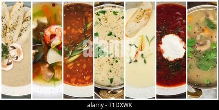 Collage de soupes différentes. Restaurant repas chauds Banque D'Images