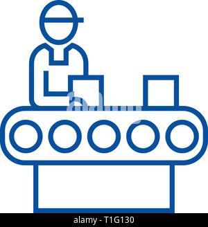 Assemblée générale l'icône de la ligne de transport concept. Convoyeur assemblée télévision vector symbole, signe, contours illustration. Banque D'Images