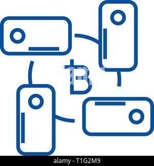 Blockchain l'icône de la ligne technologie concept. Blockchain télévision technologie vector symbole, signe, contours illustration. Banque D'Images