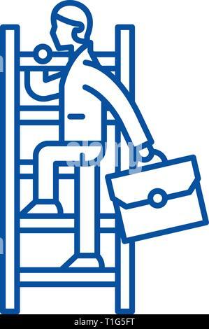 L'icône de la ligne de chemin de carrière concept. Mode carrière télévision vector symbole, signe, contours illustration. Banque D'Images