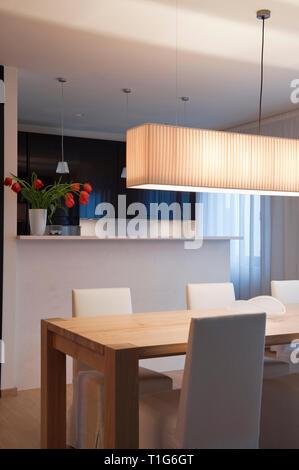 Salle à manger moderne avec blanc suspendus