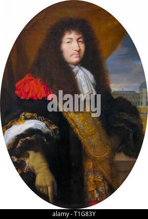 Louis XIV, roi de France (1638-1715), portrait en face du Jardin des Tuileries, du Palais, de l'école Portrait de Charles Le Brun, 1662 Château de Versailles Banque D'Images
