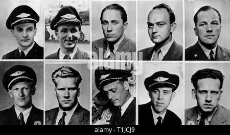 Transports / transport, l'aviation, du personnel, de l'équipage de l'avion Douglas DC-6 de la Viking Hjalmar SAS Scandinavian Airlines System, en haut, de gauche à droite: commandant de bord le capitaine M. Aschim, capitaine F. Buck, le capitaine B., Bjoernstad navigator E. Pedersen, navro I. Engeland, bas, à partir de la gauche: navro K. Klaussen, mécanicien de B. Henriksen, mécanicien de T. Aasland, purser R. de Brucq, purser P. Inseth, vol, pour la Croix Rouge à travers le pôle Nord d'Oslo (Norvège), Base aérienne de Thulé (Groenland), Anchorage (Alaska) et l'île de Shemya (Additional-Rights Clearance-Info, Ale--Not-Available Banque D'Images