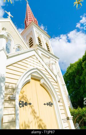 Détail architectural sur clocher de l'église rose frappant en Nouvelle-Zélande Blenhiem