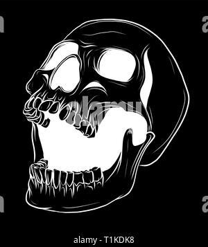 Vector illustration crâne dessiné à la main, Collection de crânes, noyau dur crâne Vector Art Banque D'Images