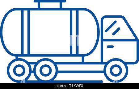 L'icône de la ligne du wagon concept. Télévision de wagons-citernes, signe, symbole vecteur illustration contour. Banque D'Images