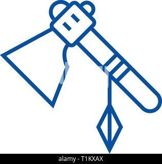 L'icône de la ligne Tomahawk concept. Télévision tomahawk, signe, symbole vecteur illustration contour. Banque D'Images
